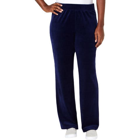 Karen Scott Sports Womens Petites Yoga Pants Velvet Pull On