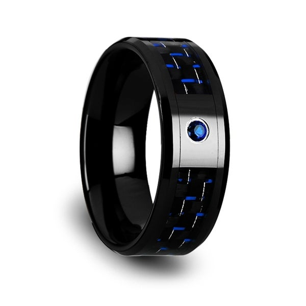 ODELL Black Ceramic Ring with Black and Blue Carbon Fiber and Blue Sapphire Setting