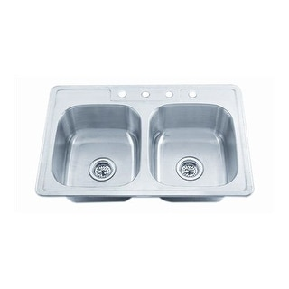 "Proflo PFSR3322653 33"" Double-Bowl Stainless Steel Kitchen Sink with 50/50 Basin Split"