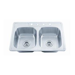 "Proflo PFSR3322654 33"" Double-Bowl Stainless Steel Kitchen Sink with 50/50 Basin Split"