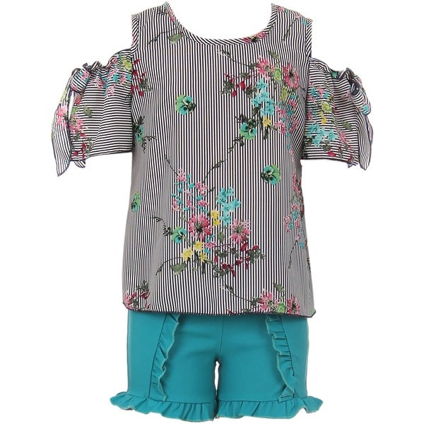 0069c5bd6877aa Shop Cold Shoulder Top Ruffle Pant Summer Girl Clothing Set Teal JKS 2113 -  Free Shipping On Orders Over  45 - Overstock - 20831201