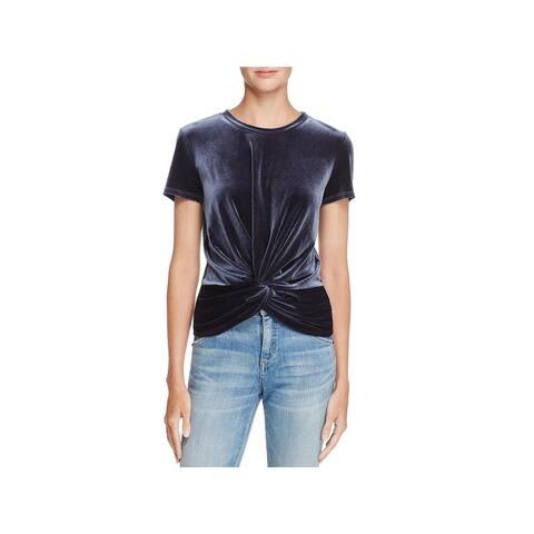 Aqua Womens Pullover Top Knot Front Velvet