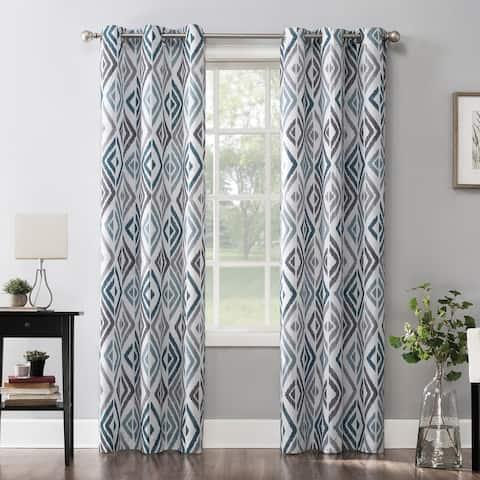 No. 918 Hana Ikat Geometric Semi-Sheer Grommet Curtain Panel