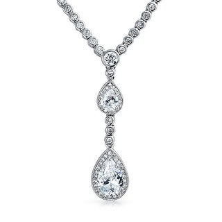 Bling Jewelry Double Teardrop CZ Bridal Necklace 16 Inches Rhodium Plated