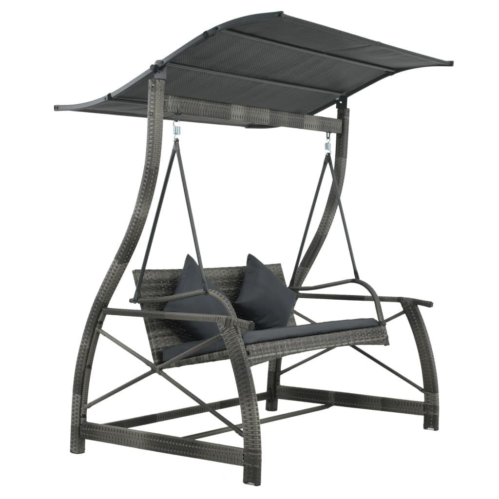 Heavy Duty Counter Stools, Shop Vidaxl Porch Swing Chair Poly Rattan Wicker Gray Outdoor Garden Bench Seat Overstock 27991897