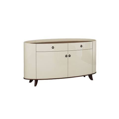 2 Drawer and 2 Cabinet Wooden Buffet with Ring Handles, Cream