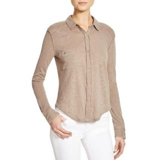 We The Free Womens Caroline Button-Down Top Hi-Low Hem Linen