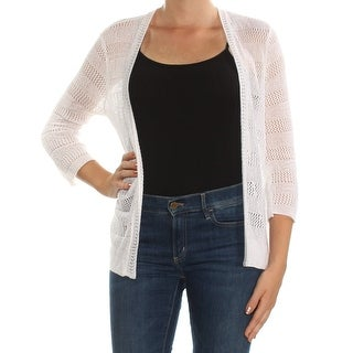 Womans White 3/4 Sleeve Open Cardigan Top Size M