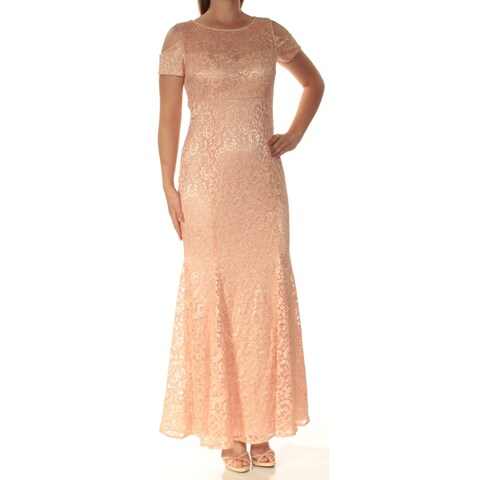 Womens Pink Short Sleeve Full-Length Sheath Prom Dress Size: 10