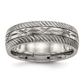 Titanium Polished Diamond Cut Ring (7 mm)