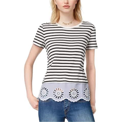 maison Jules Womens Cotton Lace-Up Top Embellished T-Shirt, White, Medium