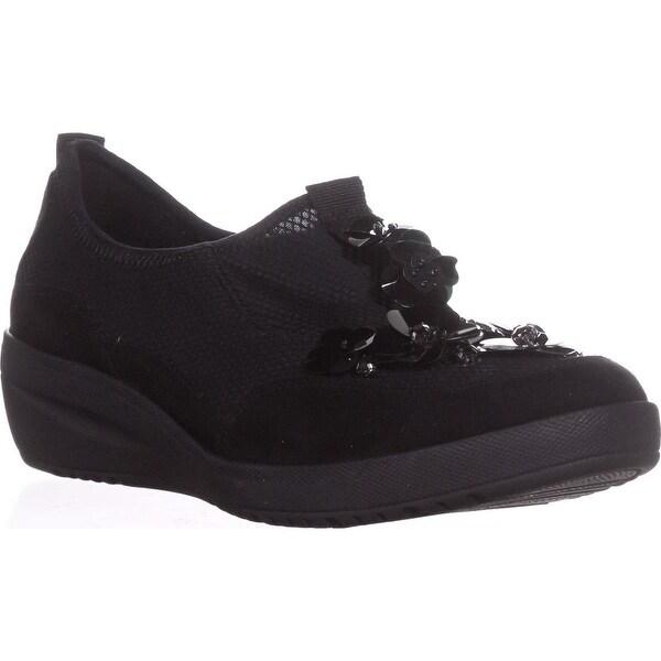 Anne Klein Sport Yael Flower Slip On Loafers, Black Multi - 8 us