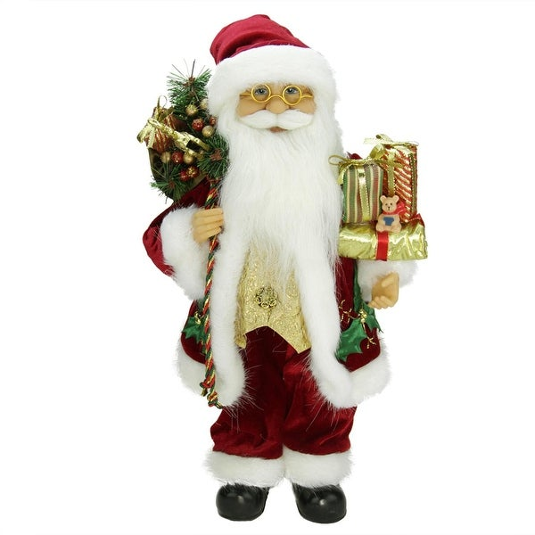 """16"""" Traditional Holly Berry Standing Santa Claus Christmas Figure with Presents and Gift Bag - RED"""