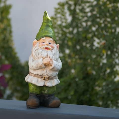Alpine 12-Inch Outdoor Garden Gnome Folding Hands Yard Statue