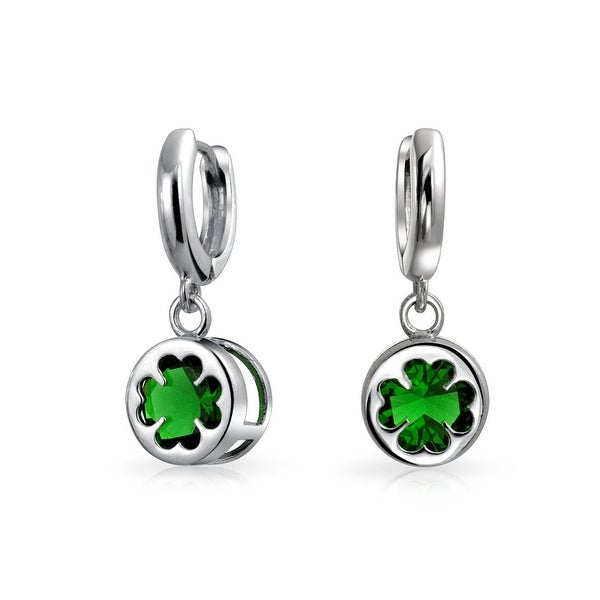 5d9b481cc Shop Irish Lucky Celtic Four Leaf Clover Green Glass Drop Dangle Earrings  For Women For Graduation 925 Sterling Silver - On Sale - Free Shipping On  Orders ...
