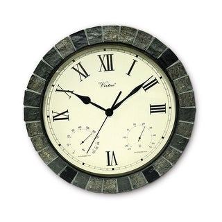"""15"""" Battery Operated Faux Stone Large Print Roman Numeral Outdoor Clock, Thermometer and Hygrometer"""