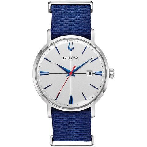Bulova Men's 96B313 Aerojet Stainless White Dial Blue Nato Strap Watch - Silvertone