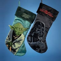 "Pack of 6 Star Wars Yoda and Darth Vader Applique Christmas Stockings 19"" - green"