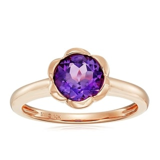 Color Stone Flower Ring In 10K Gold