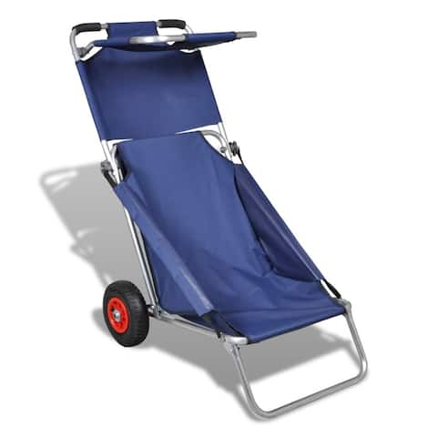 vidaXL 3 in 1 Beach Trolley Chair Portable Folding Seaside Cargo Cart Seats