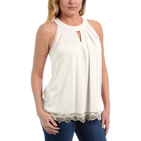 NY Collection Womens Petites Tank Top Lace Trim Pleated - PM