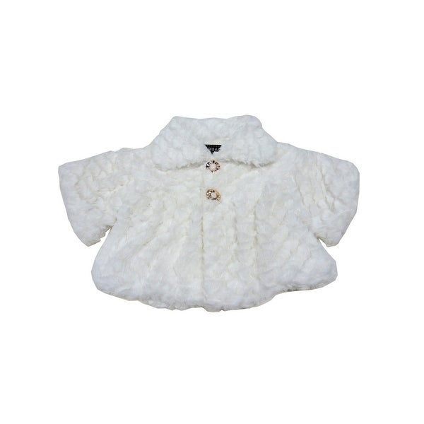 f621ca4b7 Shop Baby Girls White Swirl Soft Texture Button Closure Faux Fur Jacket -  Free Shipping On Orders Over $45 - Overstock - 23086573