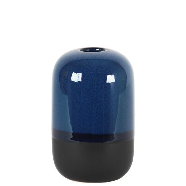 Cylindrical Stoneware Vase With Black Banded Rim Bottom, Small, Glossy Blue
