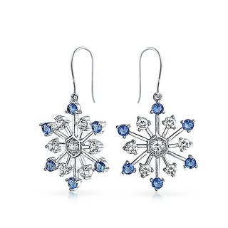 Bling Jewelry Clear Cz Simulated Shire Gl Snowflake Dangle Earring