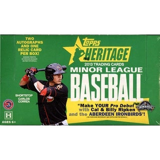 2013 Topps Heritage Minor League Baseball Hobby Box - 2 Autographs plus 1 Jersey