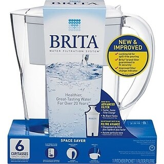 Brita Space Saver Pitcher - White - Case of 2 - 1 Count