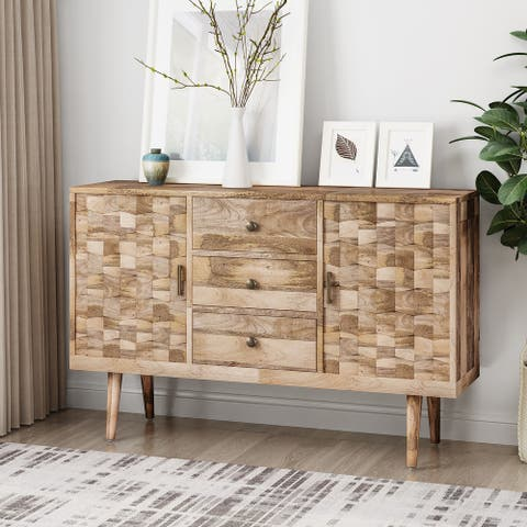 Latimer Mid-Century Modern Handcrafted Mango Wood 3 Drawer Sideboard with 2 Doors by Christopher Knight Home