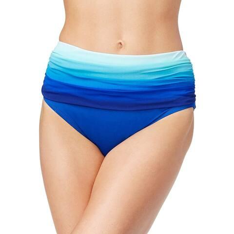 Bleu Rod Beattie Women's Shirred High-Waist Bikini Bottoms, Blue (10)