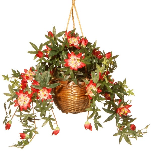 """13"""" Hanging Artificial Red flower in Basket - N/A"""