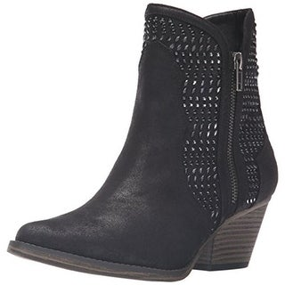 Mia Womens Joaquin Faux Leather Rhinestones Ankle Boots