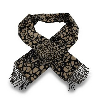 100% Cashmere Tan / Black Leopard Print Fringed Scarf