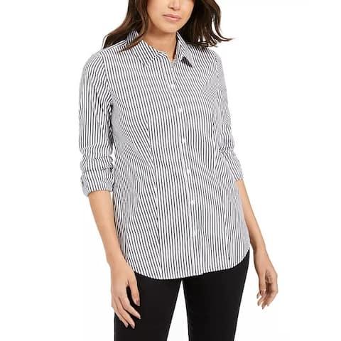 Charter Club Women's Striped Shirt Black Size 16