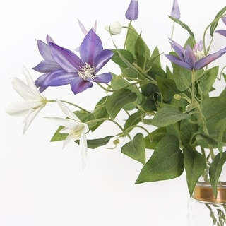 "FloralGoods Luxury Silk Clematis Stem in Purple or White 28"" Tall"