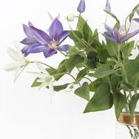"""G Home Collection Luxury Silk Clematis Stem in Purple or White 28"""" Tall"""