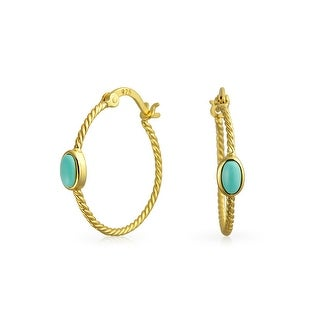 Bling Jewelry Synthetic Turquoise Twisted Cable Gold Plated Hoop Earrings - Blue