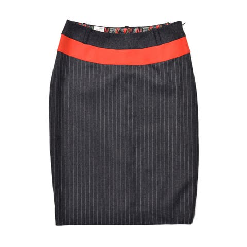 Paul Smith Womens Grey Wool Pin Striped Skirt RTL$295