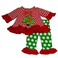 Rare Editions Little Girls Red Stripe Christmas Tree 2 Pc Pant Outfit