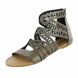 Red Circle Footwear 'Perla' Pewter Gladiator Sandal