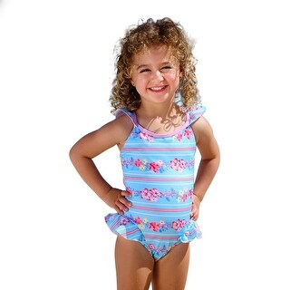 Sun Emporium Little Girls Sky Blue Pink Cross Over Back Ties Swimsuit