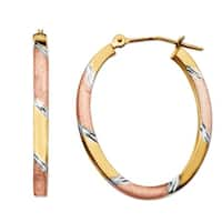 Just Gold Oval Hoop Earrings in 14K Three-Tone Gold