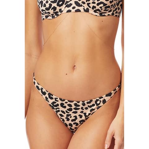 TORI PRAVER Women's Beige Animal Print High Leg Cheeky Swimwear Bottom XS