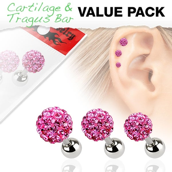 3 Pcs Value Pack of Assorted 316L Tragus Bar with Pink Ferido Ball