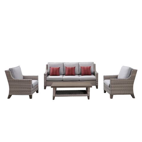 Ove Decors Suzano 4-Piece Outdoor Conversation Set in Light Brown