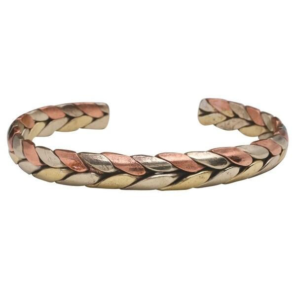 Women's Tibetan Energy Metal Cuff Bracelet - Trinity - bronze