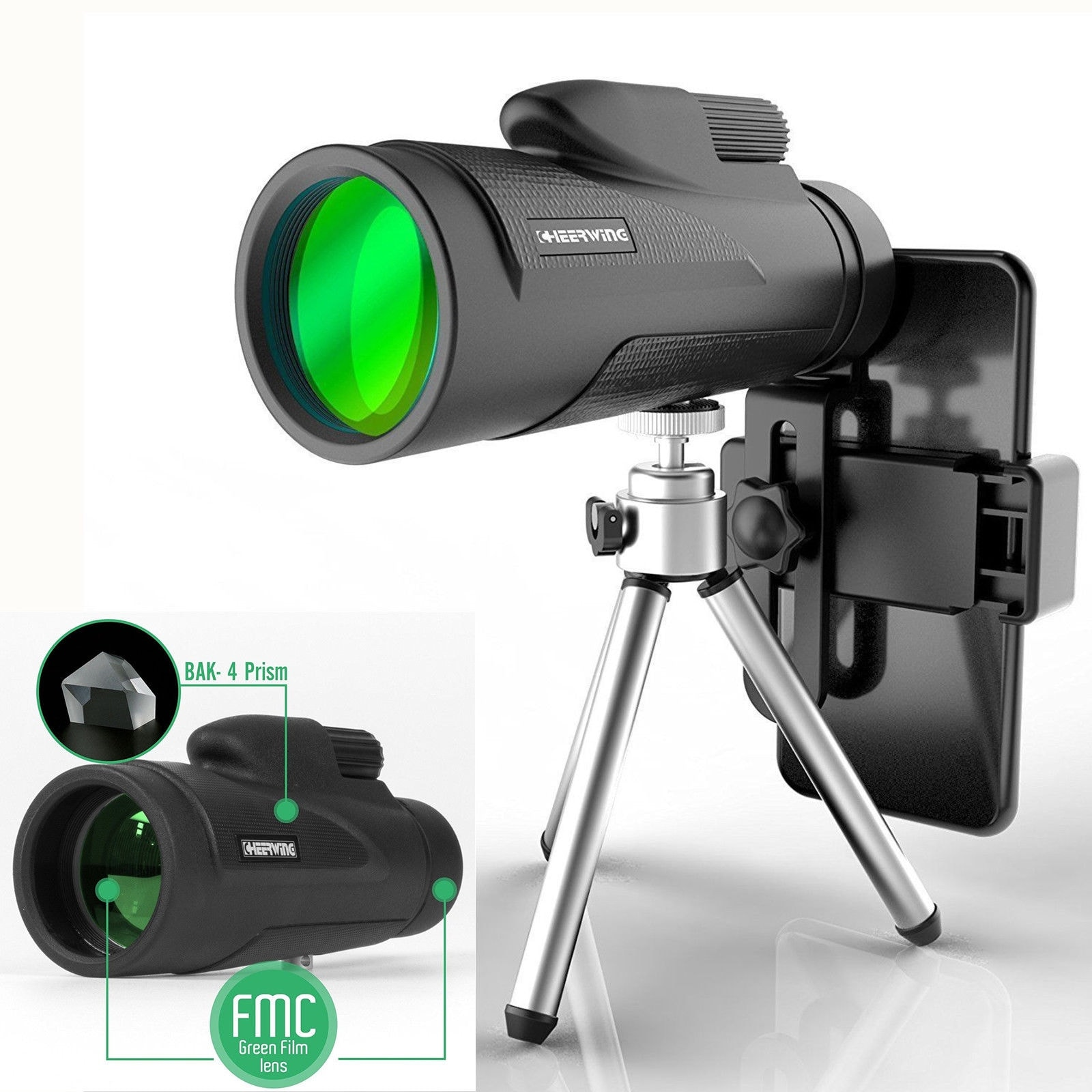 12X50 Monocular Telescope with Tripod Camera Outdoor – Black
