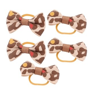 Pet Dog Leopard Pattern Rubber Hair Grooming Bands Clips Hairpins Brown 5 Pcs